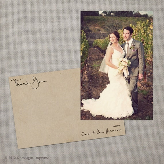 Vintage Wedding Thank You Cards / Wedding thank yous / Wedding Thank You Cards / Thank you Cards / Vintage thank you card - the Lara