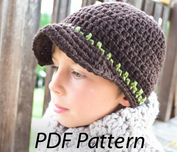 Crochet pattern pdf Taylor Visor beanie hat for boys, girls and teen. 8 sizes.(031)