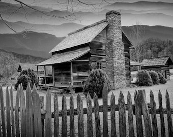 Appalachian Mountain Cabin by the Smoky Mountain National Park in North Carolina No.0553BW A Black and White Fine Art Landscape Photograph