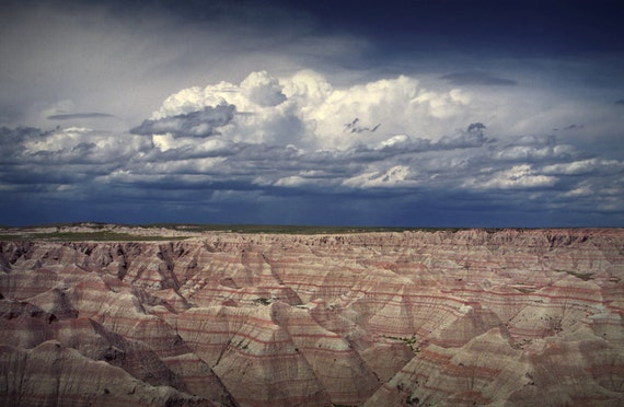 Storm Clouds over the Badlands in South Dakota No.02 - A Fine Art Panorama National Park Landscape Photograph
