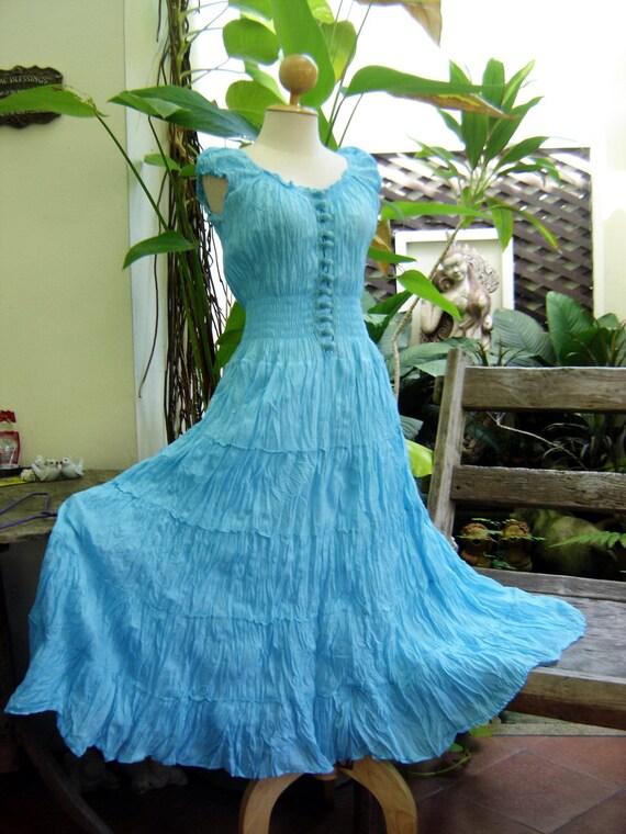 Princess Cotton Dress - Sky Blue