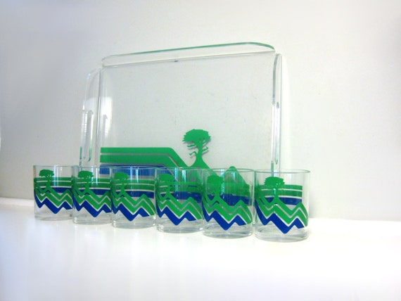 Vintage Chevron Lucite Bar Set, Tray, 6 Tumblers, Clear Acrylic with Blue, Green Chevron and Tree Design, H. J. Stotter Barware, Made in USA