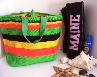 Recycled Lined Beach Bag Hand Crochet by Kams-store.com