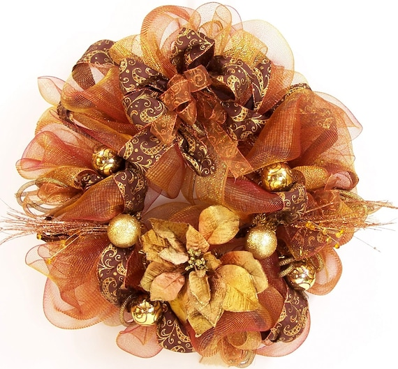 Items similar to christmas mesh wreath in copper bronze