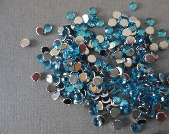 Ocean blue acrylic rhinestone  3 mm   more than 100 pcs---USA seller