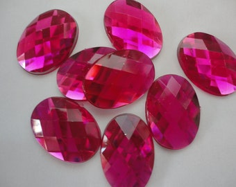 Dark pink faceted oval acrylic rhinestone decoden deco diy    8 pcs---USA seller
