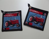 Farmall Tractor Quilted Kitchen Potholder Set