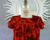Hawaiian Dress/ Vibrant 50s-60s Beach dress/ Resort Collectible Hawaiian made, Cotton Hibiscus Print