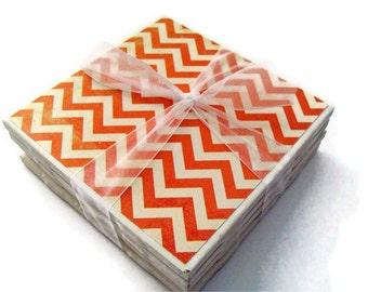 Distressed Orange Chevron Handmade Tile Coasters Set of 4, Holiday Gift Fun Funky Modern Pattern Trendy