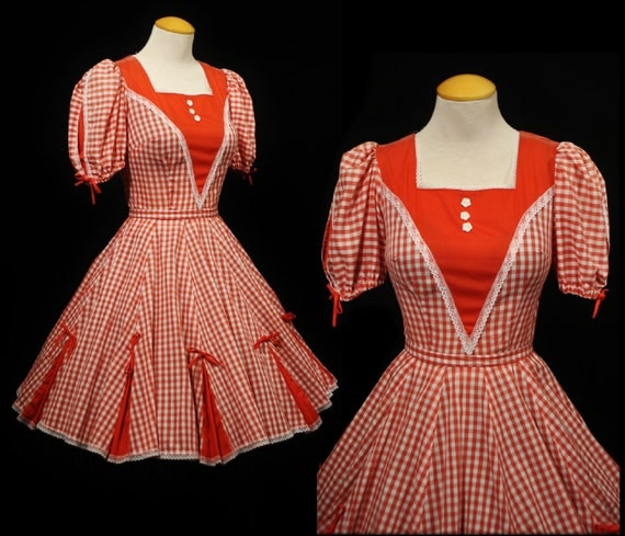 Vintage 60s Partners Please Malco Modes Red Gingham SQUARE DANCE Swing Sun DRESS Full Skirt Rockabilly Small - S