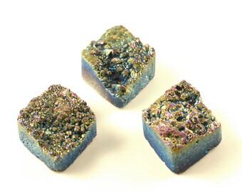 3 Pieces Rainbow Titanium Calibrated Druzy Agate Cabochon 25x20mm B33DR8012