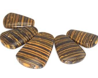 Stunning 5 pieces Dark goldenrod Stripe pendant bead Set J35B4100