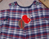 SALE Size 6 Month Baby Boy's Flannel Plaid Longall with Football Applique