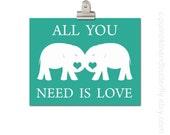 Kids Wall Art, Valentine Print, Kids Wall Art, Elephant Print, Children's Art Print Poster, Elephant, The Beatles, All You Need Is Love
