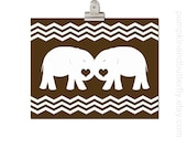 Modern Elephant Chevron Nursery Print - Kids Wall Art, Children's Art Print Poster, Art and Decor, Elephant Print, Chevron Nursery Print