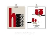 Set of 2 Prints Family Tree Print, Wall Decor, Owl Print, Home Sweet Home, Housewarming Gift, (2) 11x14 Print, Red Black White, Unisex Gift