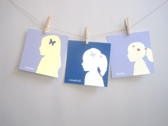 Custom Silhouette - Childrens Art Print Poster, custom gift, silhouette, portrait, gray, blue, yellow, red, modern, (3) 8x8 print