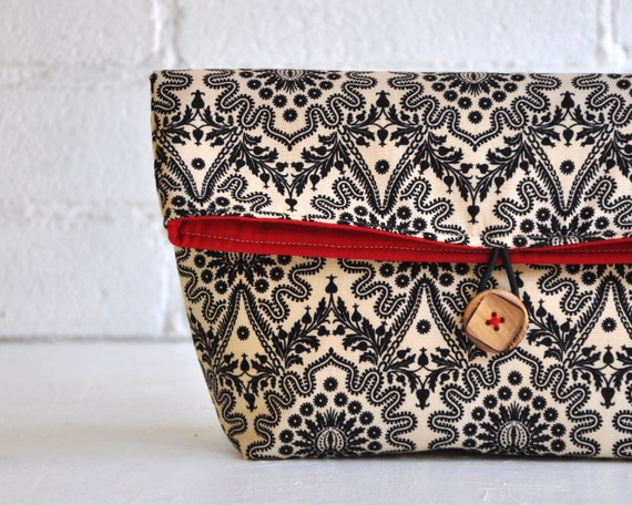 Cosmetic Bag, Fold Over Clutch, Make up Bag, Clutch Medium Sized