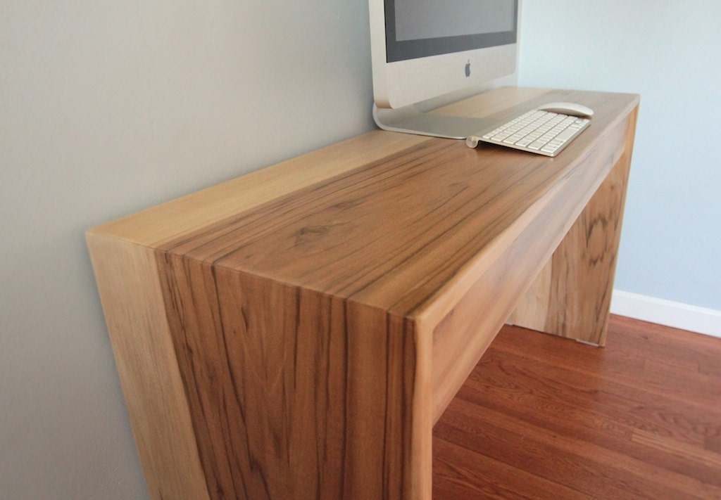 Parsons style minimalist wood computer desk by monkandhoney for Minimalist desk