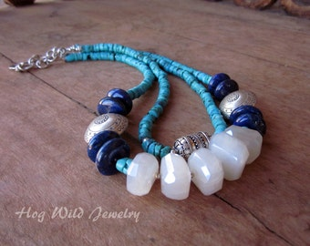 Multi Strand Turquoise Lapis and Pearl Chalcedony Sterling Silver Necklace
