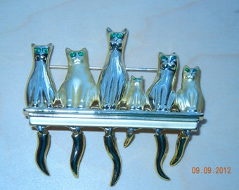 "Brooch -Pin ""CATS ""    Movable   eyes green crystal"
