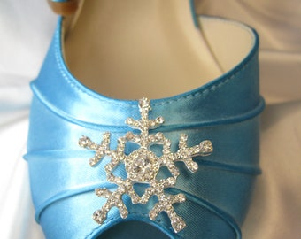 Blue Wedding Shoes with Crystal Snowflake Winter Wedding Customizable Bridal Shoes Peep Toe 100 Custom Colors Pick your heel size