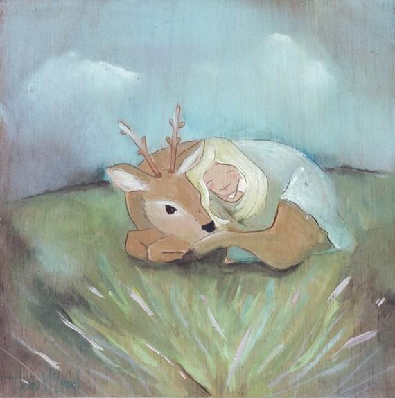 Original Girl and Deer painting, acrylic, pastel, watecolor and ink art,