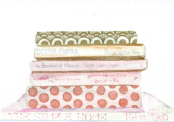 Original watercolor painting vintage books coral salmon pink polka dots bedroom art