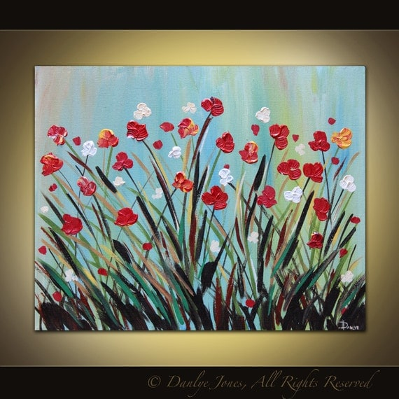 Original large painting on canvas modern abstract red tulip flowers acrylic SALE
