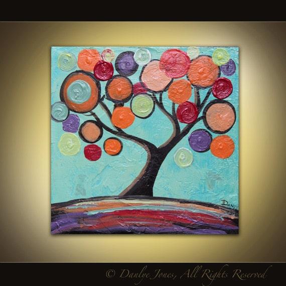 Original Tree Painting orange turquoise purple swirl Gift Size