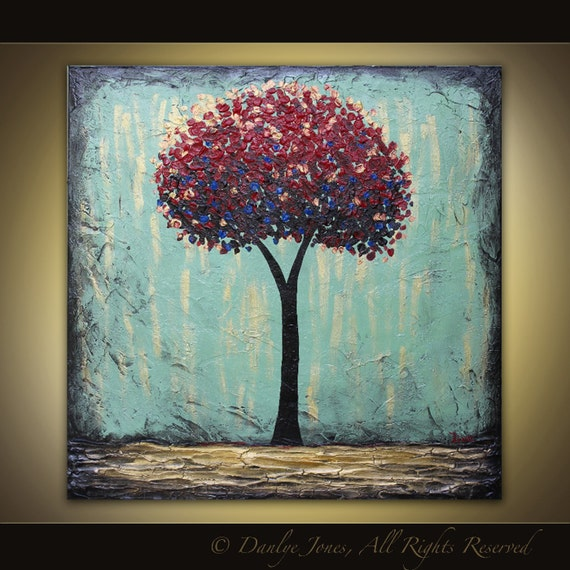Red Tree Abstract painting original acrylic on canvas 36 x 36