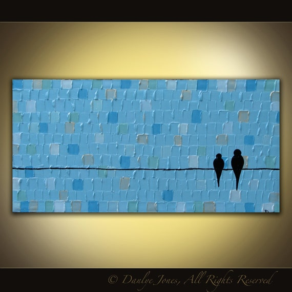 Bird painting LARGE 3ft long original acrylic on canvas birds on a wire Great Gift