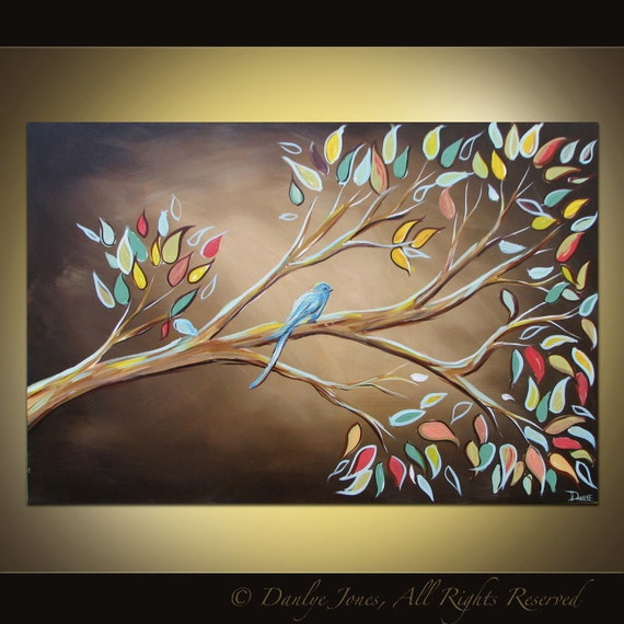 Bird on a Branch painting on canvas huge art 36 x 24