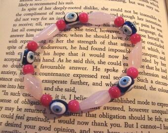 Luck of the Eye Evil Eye Pink Stretch Bracelet Nazar Mati Protection