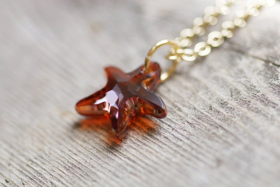 Red Starfish Necklace -  Cognac Magma Crystal Starfish Pendant on Brass Finished Chain