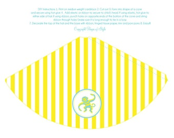 DIY Printable Party Hat - Yellow Monkey Party