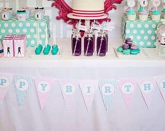 DIY Printable Happy Birthday Banner - Girl Superhero Party