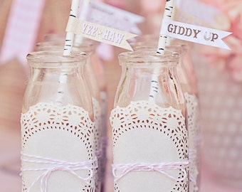 Cowgirl Party Straw Flags - Printable