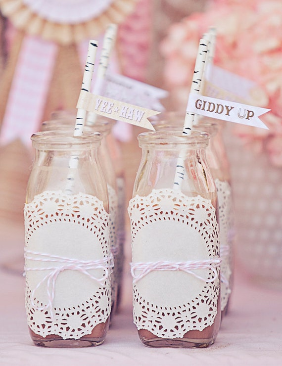 Cowgirl party straw flags