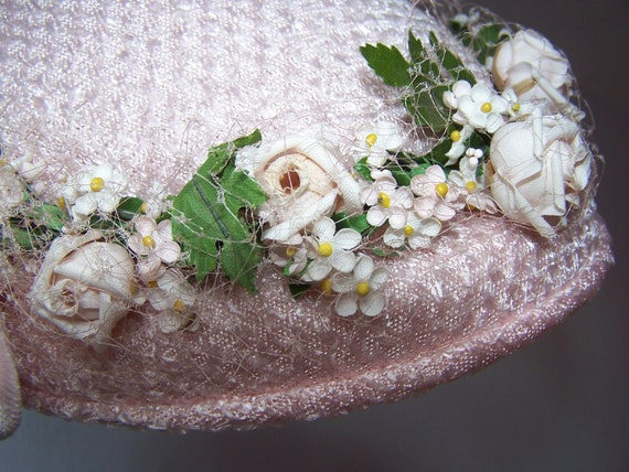 Vintage Ladies Pink Hat with Pink Roses and Veil 1950s Womens Floral Straw Spring Hat