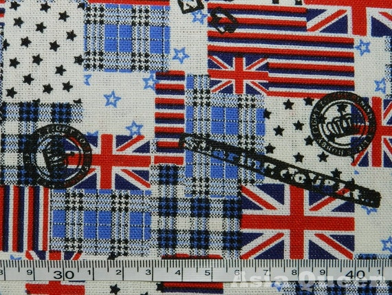UK United Kingdom national flag - blue - half yard - cotton linen- 2 colors to choose
