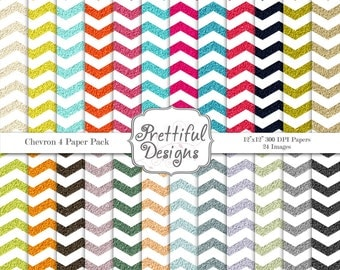 Glitter Chevron Digital Paper Pack  - Personal and Commercial Use - Set 4