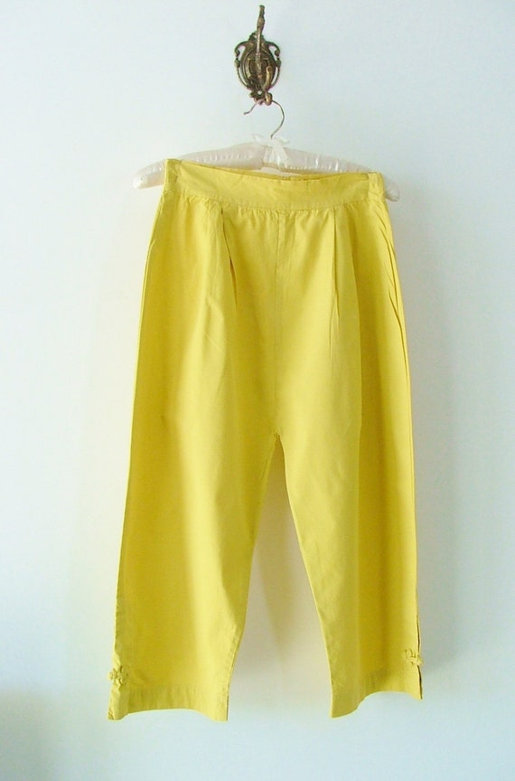Capris 50s / pinup / yellow cotton / summer / Small