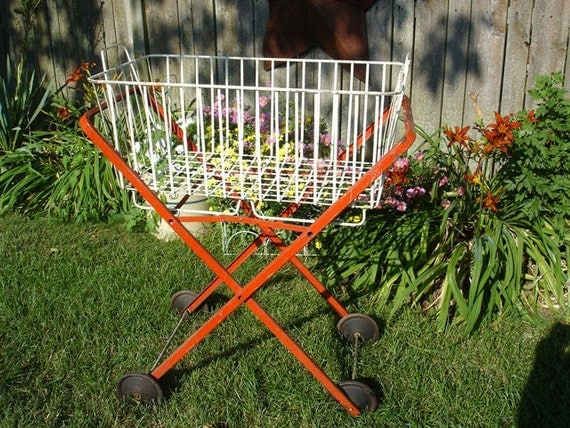 Vintage Red And White Metal Rolling Laundry Cart Basket