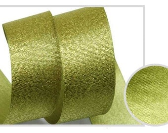 Metallic Sparkle Olive Satin Ribbon - 15mm(5/8'') , and 25mm(1'')