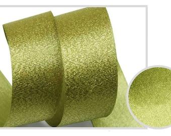 5Yards Metallic Sparkle Olive Satin Ribbon - 15mm(5/8'') , and 25mm(1'') - Glitter Ribbon