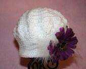 Classy White Crochet Baby Hat