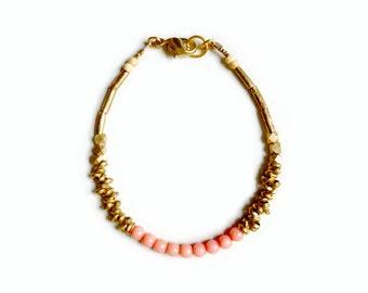Coral brass bracelet