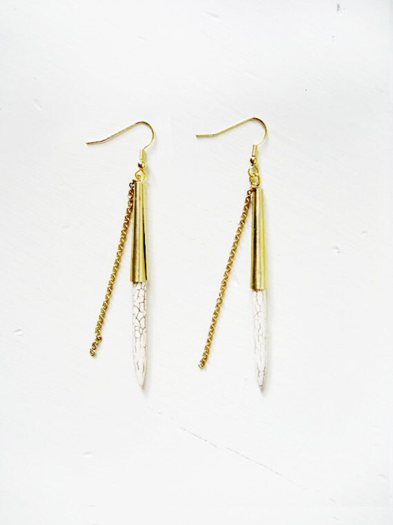 Turquoise white spike earrings