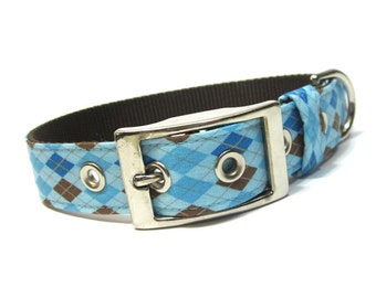 Blue Argyle Dog Collar with Metal Buckle